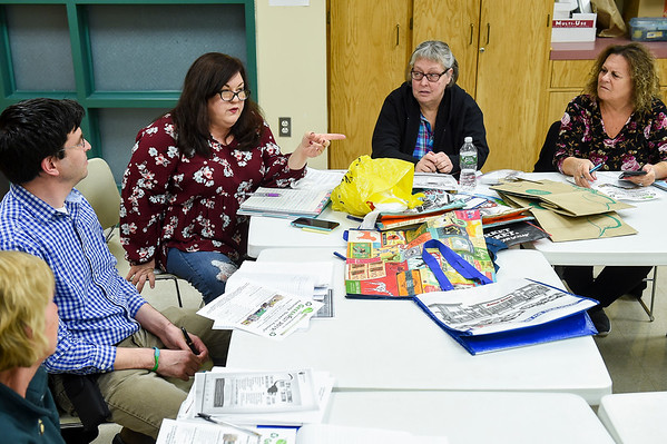 Members of a group called GreenPeabody meet at the senior center to discuss their efforts to ban bags in Peabody