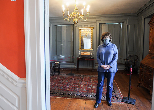 Historic Beverly Director Susan Goganian inside The Parlor of the Cabot House. Historic Beverly is planning to install an HVAC system worth $1.2 million at the Cabot House to prevent damage to its collections from heat and humidity and make the building safe and more comfortable for visitors and staff.<br /> <br /> JAIME CAMPOS/Staff photo 4/2/2021