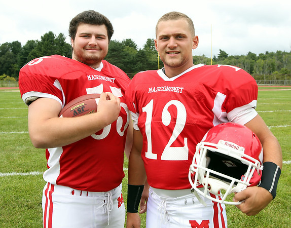 Masco seniors Steve O'Reilly, left, and Corey Tines are the only two seniors on the 2014 Chieftans that have started on varsity for three seasons on both sides of the ball. DAVID LE/Staff photo. 8/22/14.