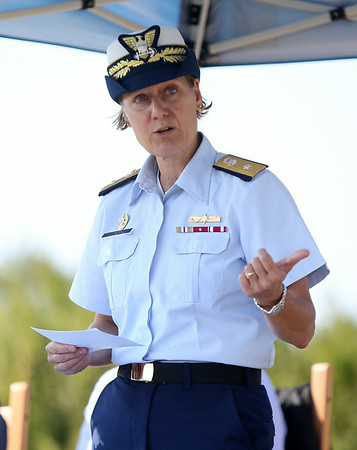 Rear Admiral Linda Fagan, of the United States Coast Guard speaks about Bakers Island during a short ceremony on Wednesday morning. DAVID LE/Staff photo. 8/27/14.