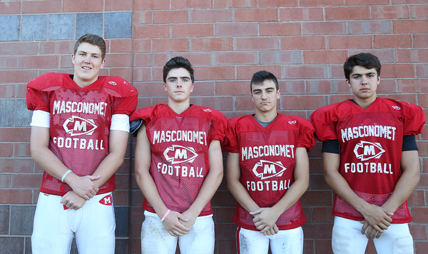 DAVID LE/Staff photo. Masco juniors Patrick Corcoran, Joe Shannon, Cody Amore, and Owen Denn. 8/29/16.
