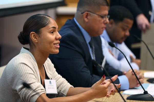 KEN YUSZKUS/Staff photo   Salem State University student Arlene Jaquez speaks at the First Veterans Education Summit at North Shore Community College.  08/17/16