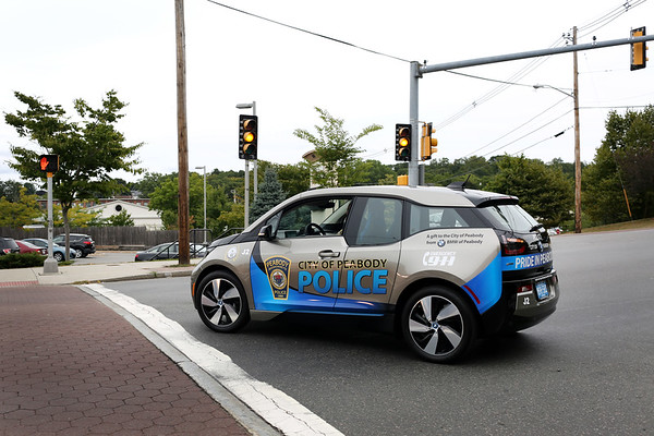 HADLEY GREEN/Staff photo<br /> <br /> Peabody Police Department has received two new electric patrol cars from BMW. <br /> <br /> 08/29/17