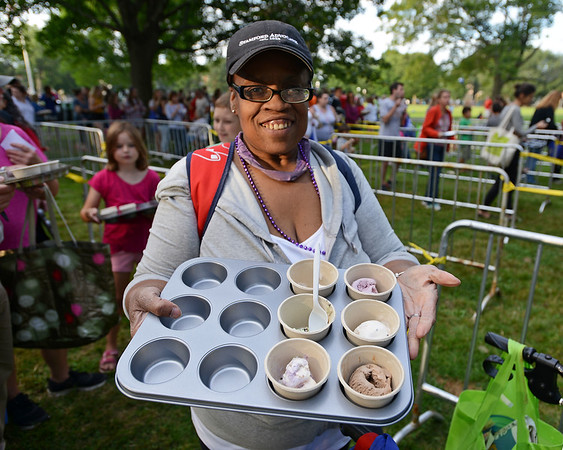 RYAN HUTTON/ Staff photo<br /> Denise Jackson made sure to bring a muffin tray to hol all of her ice cream samples at the Salem Heritage Days Ice Scream Bowl at the Salem Common on Tuesday.