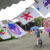 HADLEY GREEN/Staff photo<br /> Children's ocean-inspired artwork hangs to dry at the 29th Salem Maritime Festival. 8/05/17