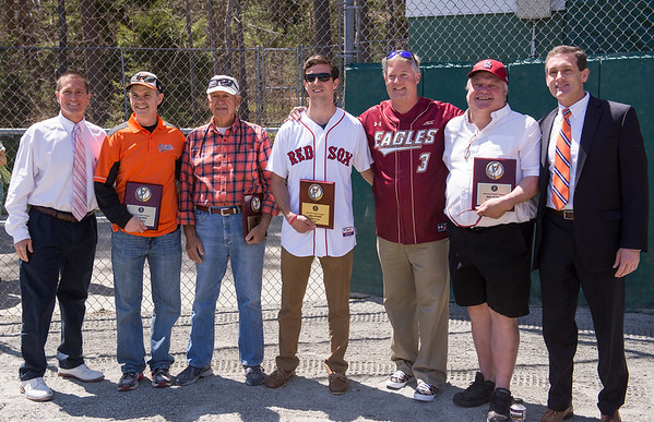 AMANDA SABGA/PHOTO<br /> <br /> FROM LEFT: Peter Ploszay, Frank Gawron, Andrew and John Frates (representing Peter) and Joseph Amore Jr.<br /> <br /> Beverly City Council President Paul Guanci (far left) and Mayor Michael Cahill Pose with the 2015 Beverly Little League Hall of Fame inductees at the Beverly Little League Opening Day ceremony and parade at the Harry Ball Field in Beverly on May 3, 2015.