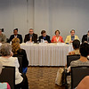 RYAN HUTTON/ Staff photo<br /> The nine candidates for Salem City Council at-large speak to the public during Tuesday night's debate at the Salem Waterfront Hotel ballroom put on by the Salem News and Salem Chamber of Commerce. From left are Liz Bradt, Jeff Cohen, Domingo Dominguez, David Eppley, Thomas Furey, Elaine Milo, Brendan Peltier, Jerry Ryan and Arthur Sargent.