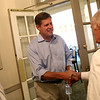 HADLEY GREEN/Staff photo<br /> Republican senate candidate Geoff Diehl visits the Hawthorne Hotel in Salem as part of his campaign kickoff tour. He is greeted by Mike Harrington of the Hawthorne Hotel after his remarks. 8/03/17