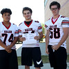 HADLEY GREEN/Staff photo<br /> Matthew Noonan, JP Doherty, Trey DeFranco<br /> <br /> Salem High Football Mugshots. 08/30/17