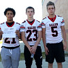 HADLEY GREEN/Staff photo<br /> Jeriel Diaz, Chris Doherty, Tyler Sanchez<br /> <br /> Salem High Football Mugshots. 08/30/17