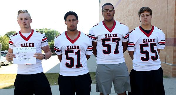 HADLEY GREEN/Staff photo<br /> Tyler Skeffington, Felix Cruz, Joe Diaz, Jonny Rodriguez<br /> <br /> Salem High Football Mugshots. 08/30/17