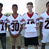 HADLEY GREEN/Staff photo<br /> Luis Paulino, Deandre Lopez, Braidon Bezzati, Gabriel Sanchez<br /> <br /> Salem High Football Mugshots. 08/30/17