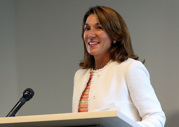 HADLEY GREEN/Staff photo<br /> Lt. Gov. Karyn Polito announces the first round of MassDEP Sustainable Materials Recovery Program grants for recycling programs in communities on the North Shore and throughout Massachusetts. <br /> <br /> 08/20/2018
