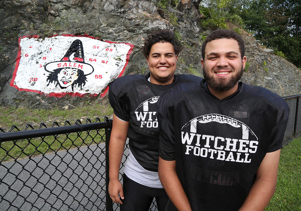 MIKE SPRINGER/Staff photo<br /> Senior captains Matt Noonan, left, center and defensive tackle, and Jayco Pena, tight end and defensive end, of the Salem Witches varsity football team.<br /> 8/25/2018