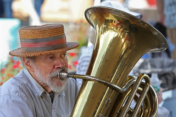 MIKE SPRINGER/Staff photo<br /> Jack Martin of Nashua, New Hampshire, plays the tuba with the New New Orleans Jazz Band during the annual Antique and Classic Boat Festival on Saturday in Salem.<br /> 8/25/18