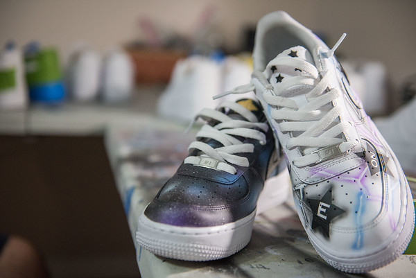 AMANDA SABGA/Staff photo<br /> <br /> A pair of custom painted sneakers by recent high school graduate Vinnie Ducharme, 18, of Groveland is building his name and brand by custom designing sneakers as Late Night Custom. <br /> <br /> <br /> 8/13/19