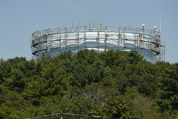 Scaffolding around the Beverly Reservoir water tower