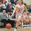 SAM GORESH/Staff photo. Masconomet senior Andrea Faia races down the court with the ball in the final game of the Masconomet Girls Basketball Holiday Invitational against Bishop Fenwick. 12/29/16