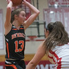 SAM GORESH/Staff photo. Beverly junior Rosie Gotsch looks to pass the ball in their game against Masconomet  in the Masconomet Girls Basketball Holiday Invitational. 12/27/16