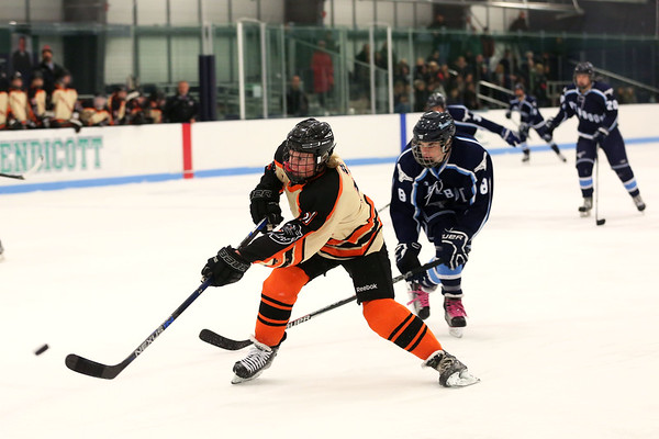 HADLEY GREEN/Staff photo<br /> Beverly's Timothy McCarthy (11) shoots at the Beverly v. Peabody boys hockey game at Endicott College.<br /> 12/20/17