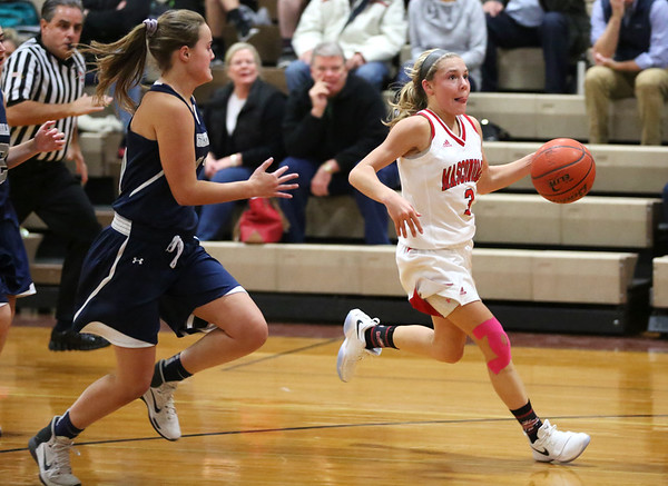 HADLEY GREEN/Staff photo<br /> Masconomet's Makayla Graves (3) dribbles down the court at the Masconomet v. Hamilton-Wenham girls basketball game at Masconomet High School.