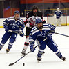 HADLEY GREEN/Staff photo<br /> Danvers' Nicolas DiSciullo (18) skates towards the net at the Marblehead v. Danvers boys hockey game at the Rockett Arena. <br /> <br /> 12/23/17