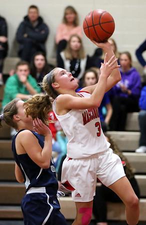 HADLEY GREEN/Staff photo<br /> Masconomet's Makayla Graves (3) shoots at the Masconomet v. Hamilton-Wenham girls basketball game at Masconomet High School.