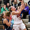 HADLEY GREEN/Staff photo<br /> Masconomet's Makayla Graves (3) shoots at the Masconomet v. Hamilton-Wenham girls basketball game at Masconomet High School.