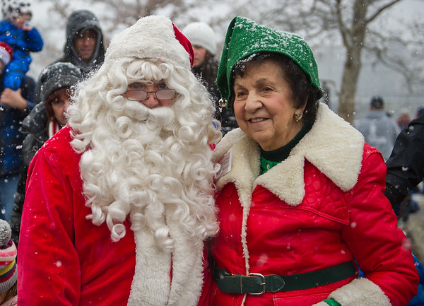 AMANDA SABGA/Staff photo. <br /> <br /> Santa poses with event master Aileen L'Abbe at the annual Santa by the Sea event at Pope's Landing in Danvers.<br /> <br /> 12/9/17