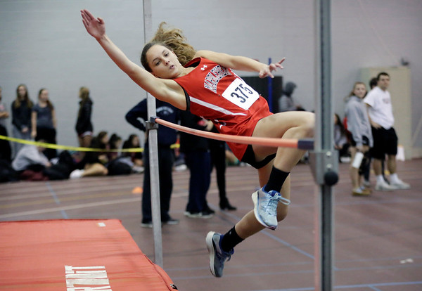 HADLEY GREEN/ Staff photo Marblehead's Meryl Hollister competes in high jump at the track meet at Marblehead High School.  12/06/2018