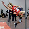 HADLEY GREEN/ Staff photo<br /> Marblehead's Meryl Hollister competes in high jump at the track meet at Marblehead High School.<br /> <br /> 12/06/2018