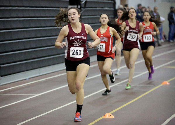 HADLEY GREEN/ Staff photo<br /> Gloucester's Lila Olson leads in the 600 meter race at the track meet at Marblehead High School.<br /> <br /> 12/06/2018