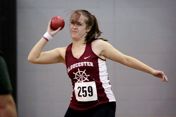 HADLEY GREEN/ Staff photo<br /> Gloucester's Molly Martin competes in shot put at the track meet at Marblehead High School.<br /> <br /> 12/06/2018