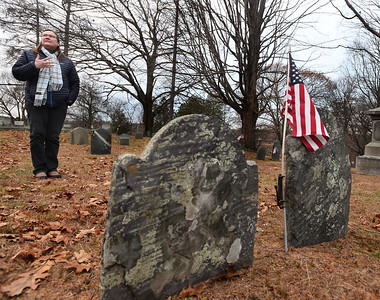CARL RUSSO/Staff photo. The South Church historian, Charlotte Lyons talks about the history of the graves in the church cemetery. She is standing in the area that could be the burial spot of Lucy Foster. Students from Penguin Hall Academy in Wenham helped research and discover the likely burial spot in the South Church cemetery in Andover of a woman who was a slave named Lucy Foster in the late 1700s and early 1800s. 12/05/2018