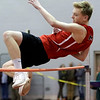 HADLEY GREEN/ Staff photo<br /> Marblehead's Cam Heafitz competes in high jump at the track meet at Marblehead High School.<br /> <br /> 12/06/2018