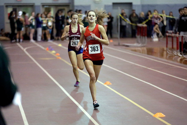HADLEY GREEN/ Staff photo<br /> Marblehead's Bella Damon runs in the 300 meter race at the track meet at Marblehead High School.<br /> <br /> 12/06/2018