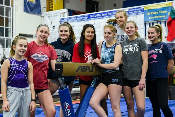 Hamilton-Wenham gymnastics team practicing for area gymnastics season preview running Friday
