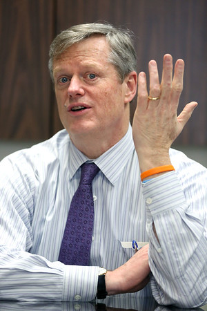 Gov. Charlie Baker speaks with the North of Boston Media Group at The Salem News