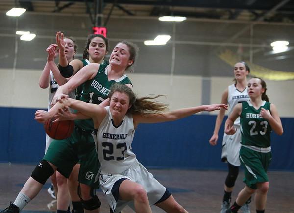 Jared Charney / Photo Hamilton-Wenham's Cecily Szady battles Manchester's Melanie Carter for a rebound, Friday, February 10, 2017 at Hamilton-Wenham High School.