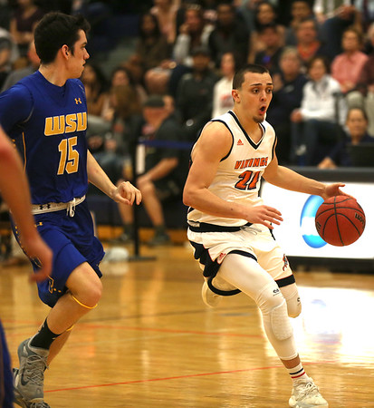 HADLEY GREEN/ Staff photo <br /> Salem State dribbles towards the basket at the Salem State v. Worcester State MASCAC Tournament Championship game held at the Twohig Gymnasium at Salem State on Saturday, February 25, 2017.