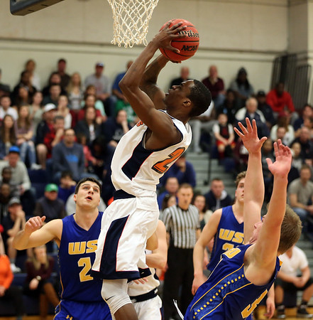 HADLEY GREEN/ Staff photo <br /> Salem's Shyheim Davis-Smith shoots at the Salem State v. Worcester State MASCAC Tournament Championship game held at the Twohig Gymnasium at Salem State on Saturday, February 25, 2017.