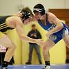 HADLEY GREEN/ Staff photo<br /> Danvers' Jack Anderson faces off with Lynnfield/North Reading's Sean McCullough during the 160 pound match at Wednesday night's wrestling match hosted by Danvers High.