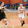 HADLEY GREEN/Staff photo<br /> Beverly's Sabrina Beaudry (21) dribbles down the court while Bishop Fenwick's Courtney Norton (10) guards her at the Beverly v. Bishop Fenwick girls basketball game at Beverly High School.<br /> <br /> 02/18/18