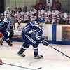 CARL RUSSO/Staff photo SALEM NEWS: Danver's captain, Conor Purtell breaks for the net to score the first goal of the game. Masconomet high school vs Danvers high school in boys varsity hockey action. 2/12/2018