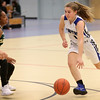 HADLEY GREEN/Staff photo<br /> Danvers' Lydia Runnals (1) dribbles to the basket at the Danvers v. Lynn Classical girls basketball game at Danvers High School.<br /> <br /> 02/06/18