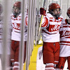 CARL RUSSO/Staff photo SALEM NEWS: Masconomet's William Major, center and his teammate, Kirby Glynn are reflected in the glass as they celebrate Major scoring the team's 4th. goal of the game at the start of the second period in Hockey action. Masconomet high school vs Danvers high school in boys varsity hockey action. 2/12/2018
