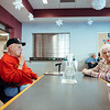 Raymond Harris waits for his lunch at Swampscott's Senior Center. Jared Charney / Photo