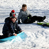 HADLEY GREEN/Staff photo<br /> From left, Anthony Capurso, 5, of Beverly and Landon Chesna, 8, of Danvers, sled at Endicott Park after Saturday night's snow storm. <br /> <br /> 02/18/18