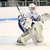 HADLEY GREEN/Staff photo<br /> Danvers' Yegor Bublik (1) guards the net at the Danvers v. North Reading boys hockey game at Endicott College. <br /> <br /> 02/23/18