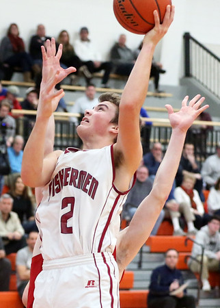 HADLEY GREEN/Staff photo<br /> Gloucester's Benjamin Oliver (2) shoots at the Gloucester v. Masconomet boys basketball game at Beverly High School.<br /> <br /> 02/18/18